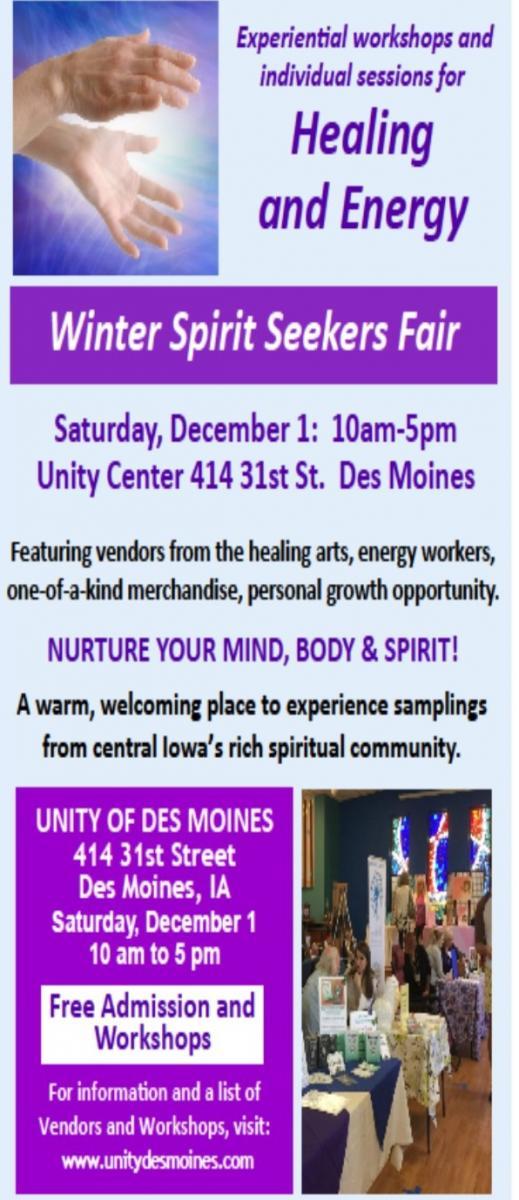 Winter Spirit Seekers Fair | Unity of Des Moines